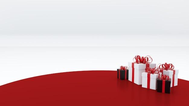 Podium Vide Rouge Il Y A Un Coffret Cadeau Pour Célébrer La Nouvelle Année Photo Premium