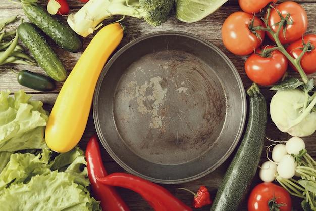 Poêle Vide Avec Des Légumes Autour, Vue De Dessus Photo gratuit