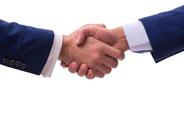 Poignée de main d'affaires isolée Photo Premium