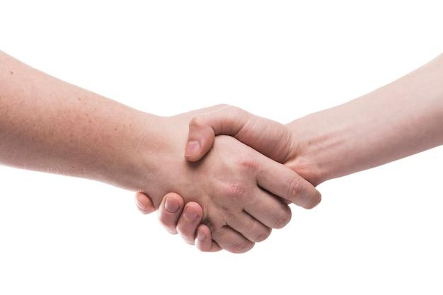 Poignée de main close-up sur blanc Photo gratuit