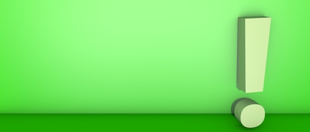 Point D'exclamation Sur Vert. Illustration 3d Photo Premium