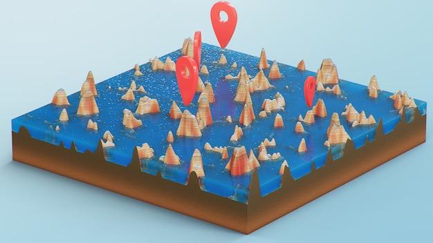Pointeurs Rouges, Marqueurs Sur La Navigation Cartographique 3d. Lignes De Contour Sur Une Carte Topographique Photo Premium