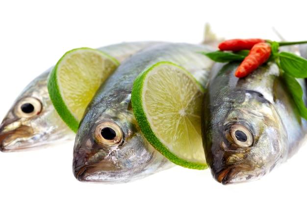 Poisson frais au citron et feuilles isolé sur fond blanc Photo Premium