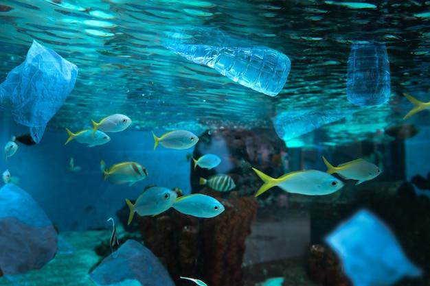 Pollution de l'environnement par une bouteille d'eau en plastique dans l'océan Photo Premium