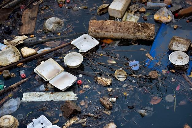 Pollution De La Plage. Bouteilles En Plastique Et Autres Déchets Sur La Rivière. Photo Premium