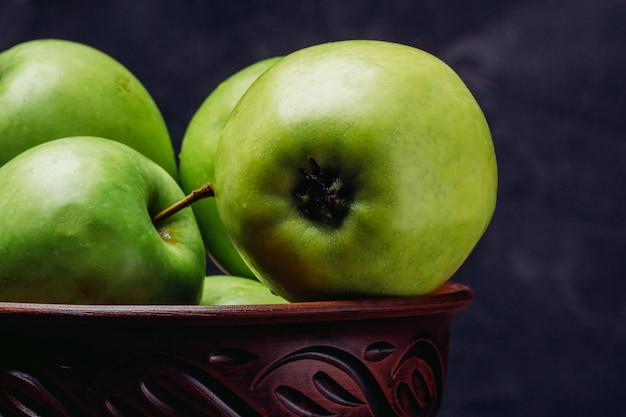 Pommes, Gros Plan, Dans, Bol Photo Premium