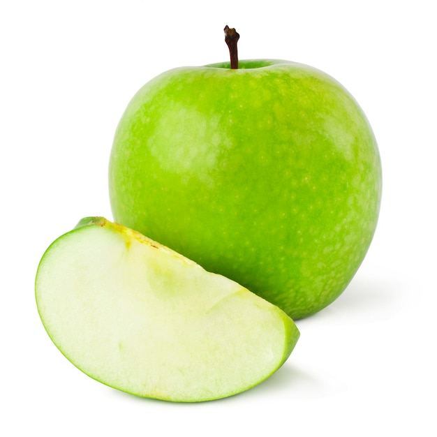 Pommes Vertes Sur Fond Blanc Photo Premium