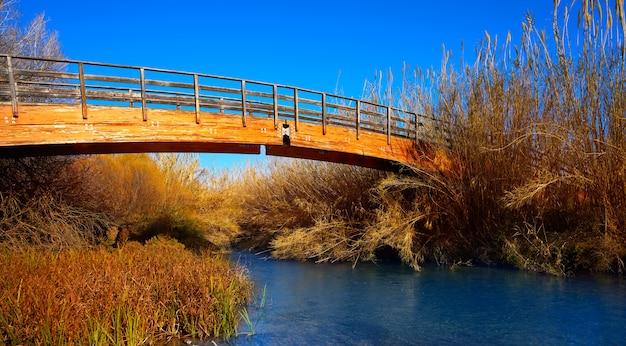 Pont en bois d'automne du parc turia à valence Photo Premium