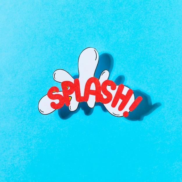 Pop art illustration de l'icône de vecteur de texte et d'effet splash sur fond bleu Photo gratuit
