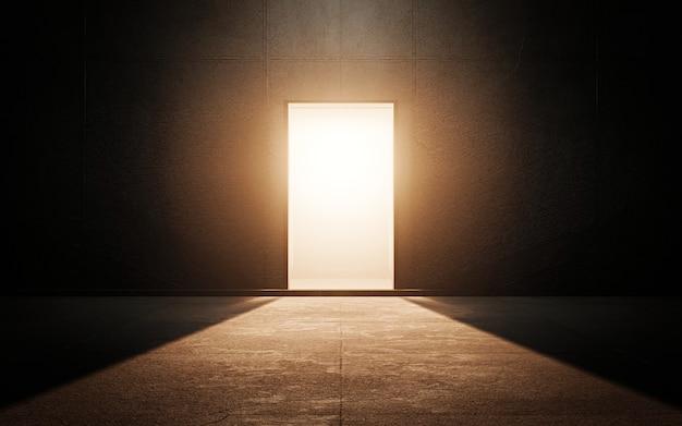 Porte claire dans une pièce sombre Photo Premium