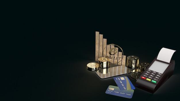Le Portefeuille Mobile Symbole E Et Pièces D'or Rendu 3d Pour Le Concept D'entreprise E. Photo Premium