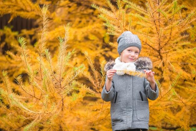 Portrait de l'adorable petite fille en plein air au beau jour d'automne Photo Premium