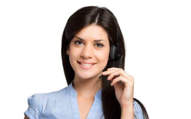Portrait d'un beau représentant du client au travail Photo Premium