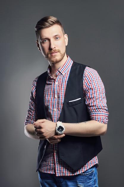 Portrait de beaux hommes brutaux sexy manager Photo Premium