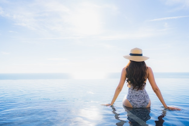 Portrait belle jeune femme asiatique sourire heureux se détendre autour de la piscine dans l'hôtel resort pour les loisirs Photo gratuit