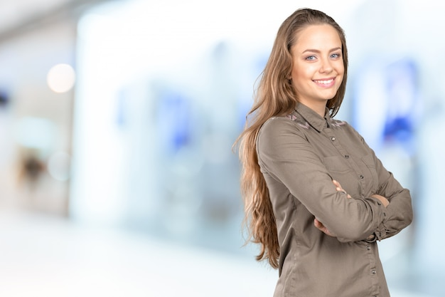 Portrait de belle jeune femme Photo Premium
