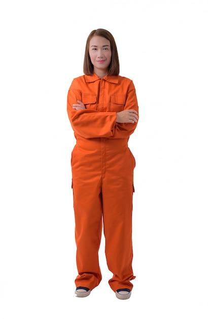 Portrait complet du corps d'une travailleuse en combinaison mécanique isolé sur fond blanc Photo Premium