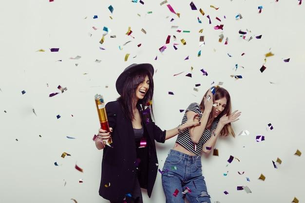 Portrait De Deux Meilleures Amies Hipster Femmes Photo Premium