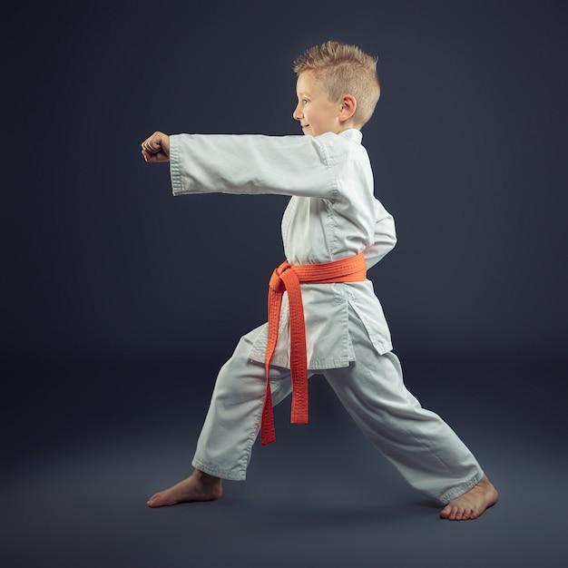 Portrait D'un Enfant Avec Un Kimono Pratiquant Le Karaté Photo Premium