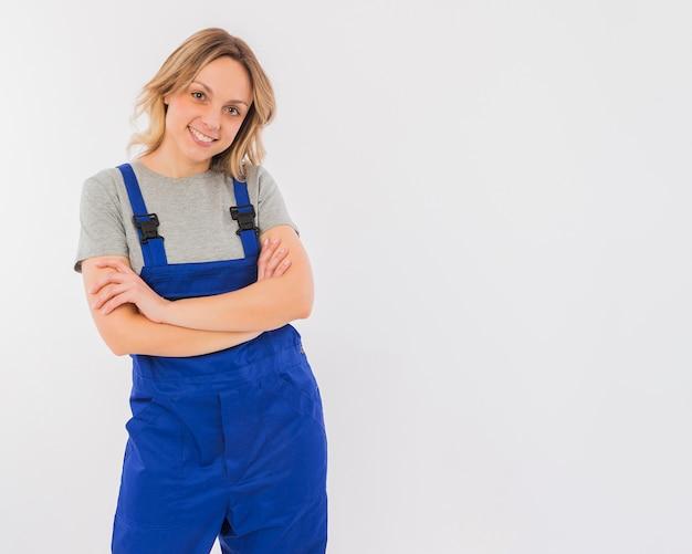 Portrait de femme travailleuse Photo gratuit