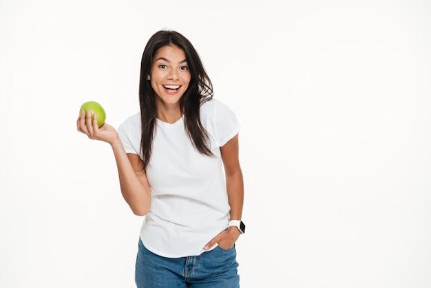 Portrait, De, A, Heureux, Femme Saine, Tenue, Pomme Verte Photo gratuit