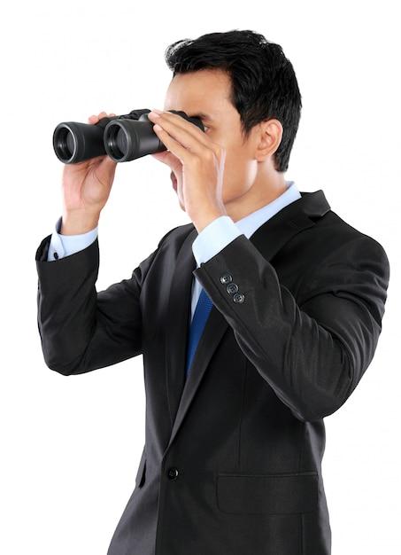 Portrait, Homme Affaires, Tenue, Jumelles Photo Premium