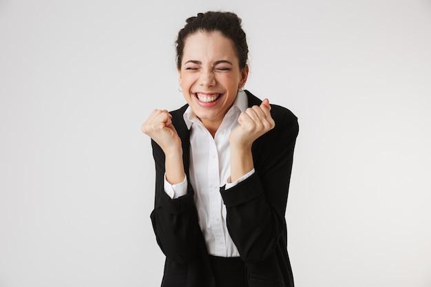 Portrait D'une Jeune Femme D'affaires Excitée Photo Premium