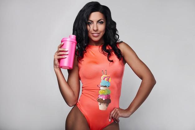 Portrait, de, jeune, fitness, femme, porter, sportswear Photo Premium