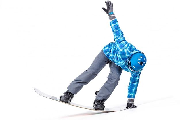 Portrait de jeune homme en tenue de sport avec snowboard isolé on white Photo Premium