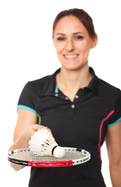 Portrait de joueur de badminton Photo Premium