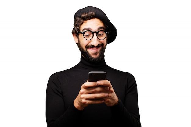 Portrait moustache selfie fou créatif Photo gratuit