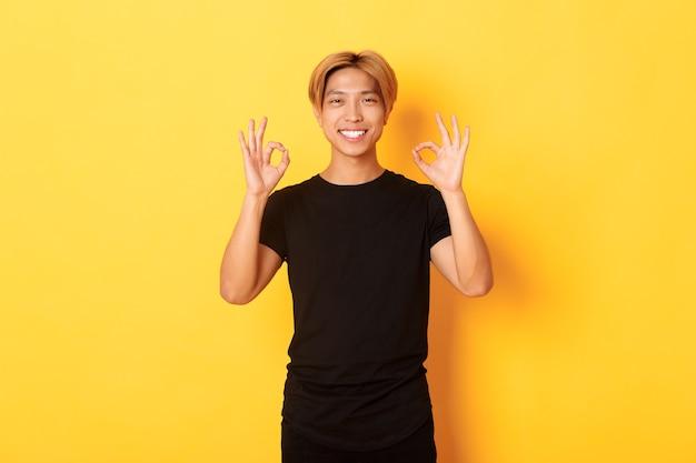 Portrait Of Smiling Guy Asiatique Confiant, à La Recherche De Plaisir, Montrant Un Geste Correct, Mur Jaune Photo gratuit