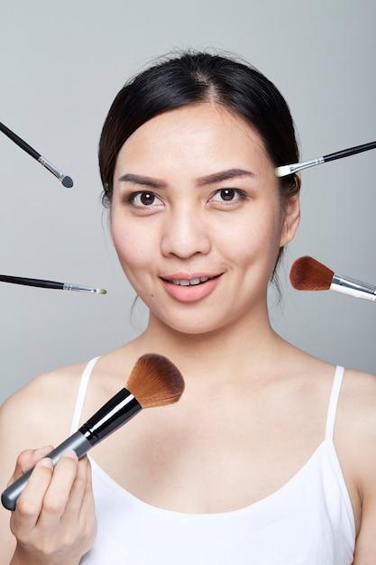 Portrait de peau belle femme Photo Premium