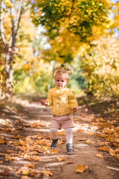 Portrait, petite fille, debout, forêt, sentier, automne Photo gratuit