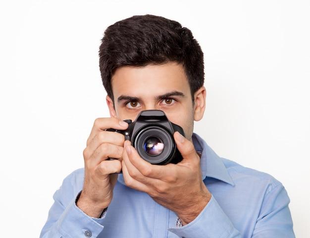 Portrait photographique journaliste manuel visage Photo gratuit