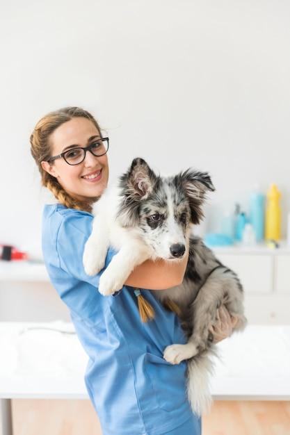 Portrait de souriant jeune femme vétérinaire portant le chien en clinique Photo gratuit