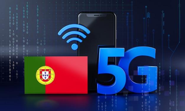 Le Portugal Est Prêt Pour Le Concept De Connexion 5g. Fond De Technologie Smartphone De Rendu 3d Photo Premium