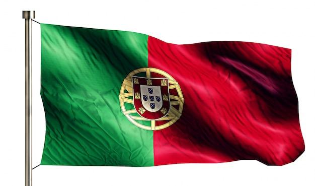 Portugal National Flag Isolated 3d Fond Blanc Photo gratuit