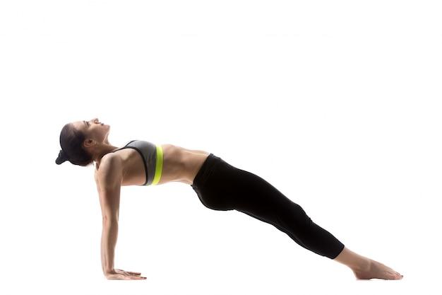 Pose De Yoga En Planche Vers Le Haut Photo Gratuite