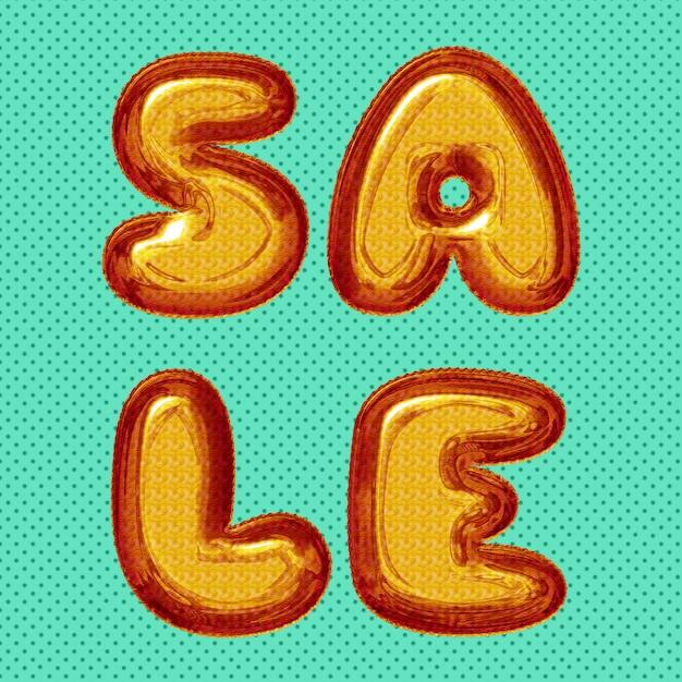 Poste de vente de médias sociaux avec des lettres de ballon rouge orange jaune Photo Premium