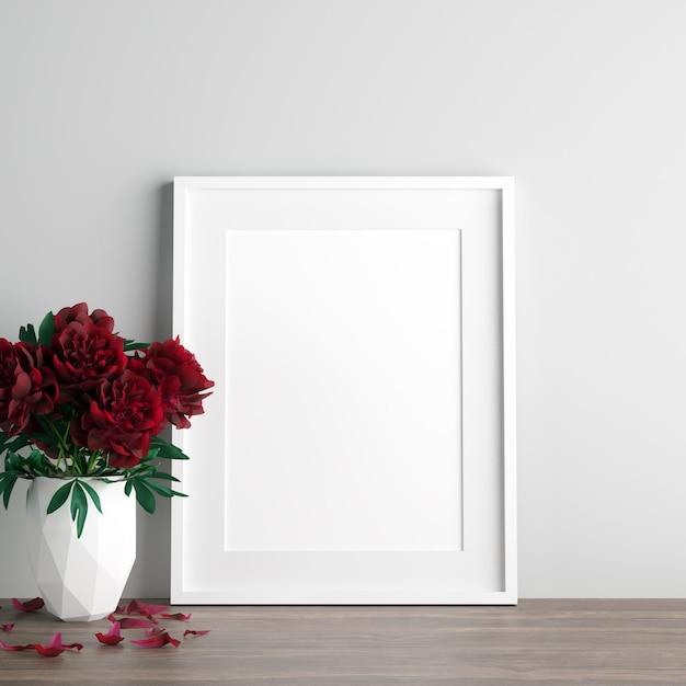 Poster maquette avec des fleurs roses rouges dans un vase blanc Photo Premium