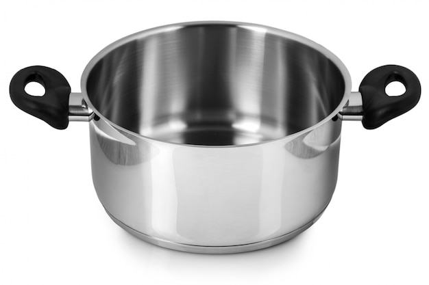 Le pot en acier inoxydable sans couvercle. isolé sur fond blanc Photo Premium