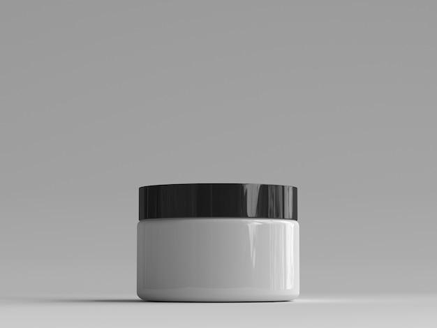 Pot à cosmétiques rendu 3d sans étiquette Photo Premium