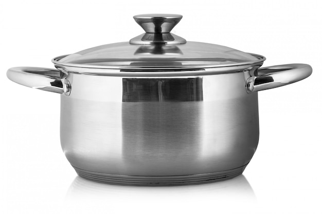 Pot en métal avec couvercle en verre et poignées en plastique isolés sur fond blanc Photo Premium