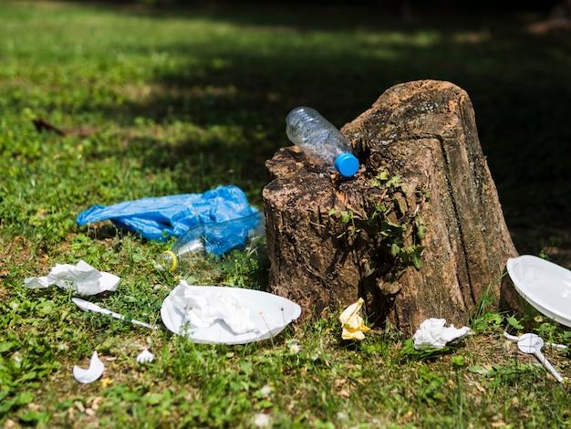 Poubelle en plastique près d'une souche d'arbre au jardin Photo gratuit