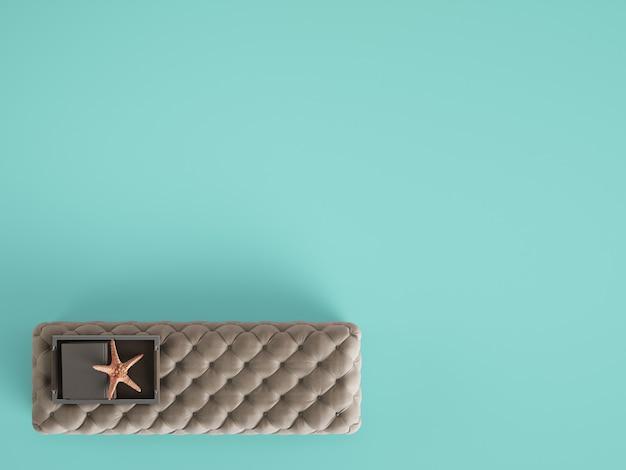 Pouf De Table Basse Capitonné Classique Avec Un Décor De Couleur Bleu Pastel Avec Espace Copie. Mise à Plat Photo Premium