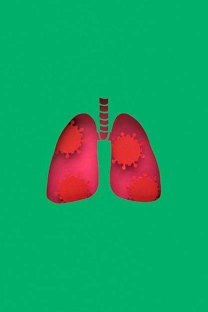 Poumons En Papier Avec Des Virus Photo gratuit