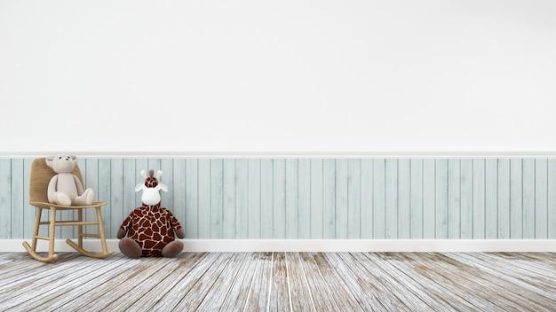 Poupée girafe et ours en peluche dans une décoration en bois - rendu 3d Photo Premium