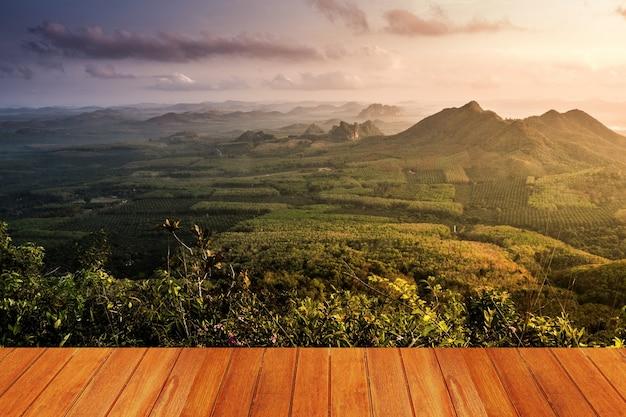 Prairie avec une montagne vu à partir d'une table en bois Photo gratuit