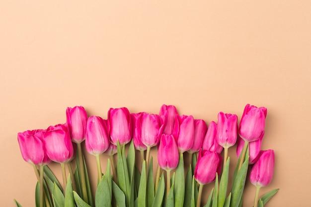 Printemps eté fond beige avec des fleurs de printemps. espace libre. copier l'espace.top vue. tulipes roses. Photo Premium